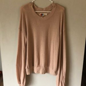 Free people beach tan sweater wide sleeves size M